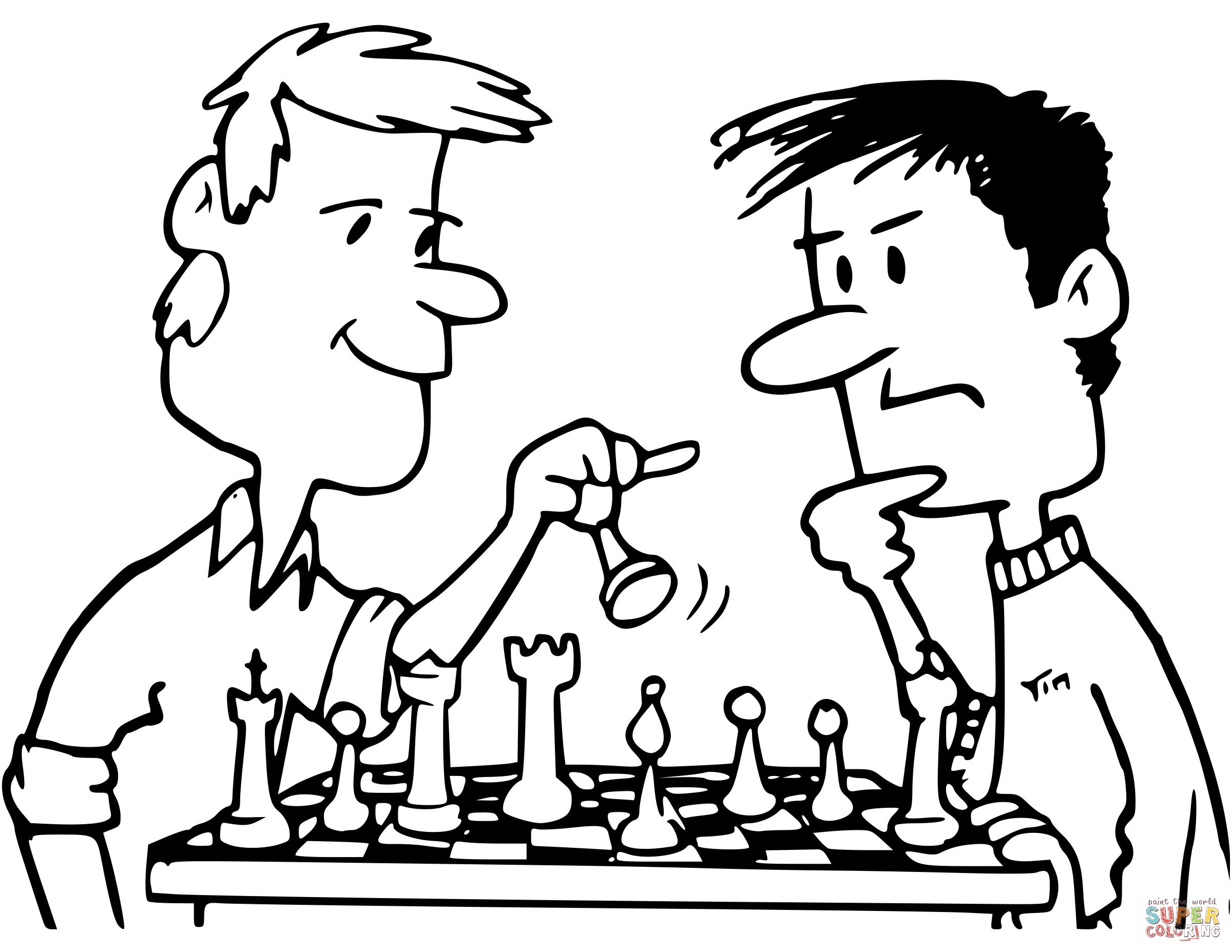 Dibujos de ajedrez para colorear la partida