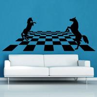 Vinilo de ajedrez - Tablero caballos